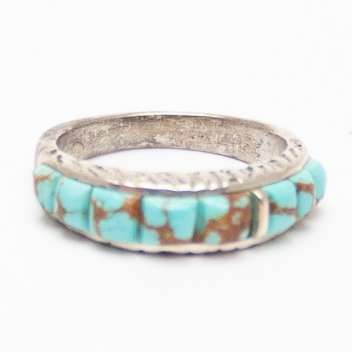 Thick Ribbed Turquoise Ring