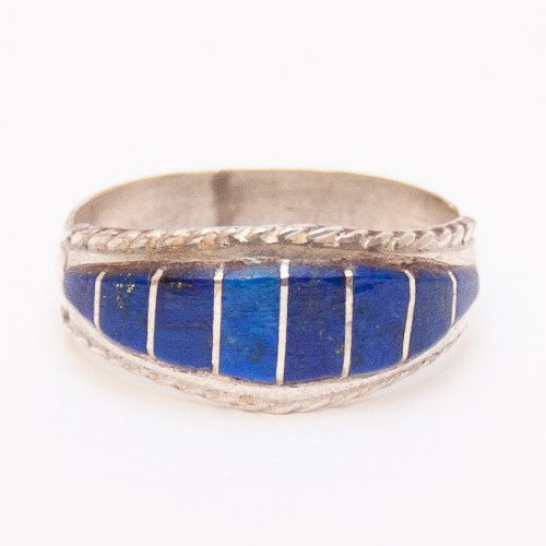 Striped Lapis Zuni Ring