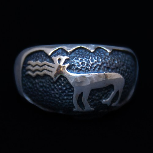 Native American Sioux Elk Silver Ring