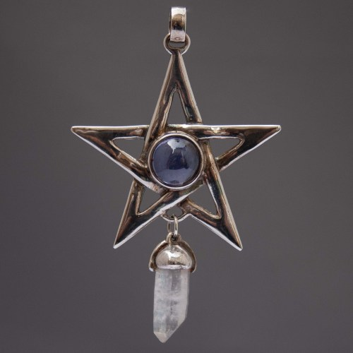 Iolite Clear Quartz Sterling Silver Pentacle Pendant