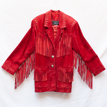 Vintage Red Leather Fringed Jacket
