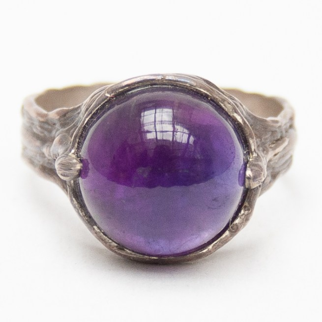 Round Amethyst Cabochon Sterling Silver Ring