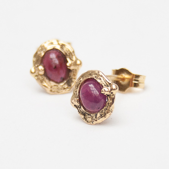 18K Gold Ruby Earrings