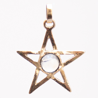18K Gold Moonstone Pentacle Pendant