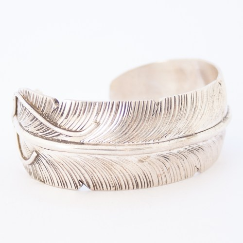 Native American Silver Feather Cuff Bracelet