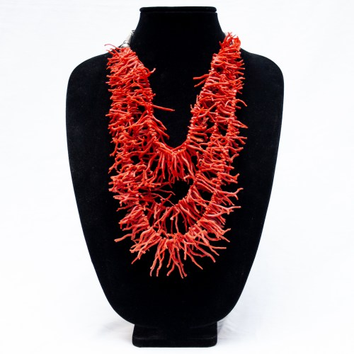 1940's Vintage Triple Red Coral Branch Necklace