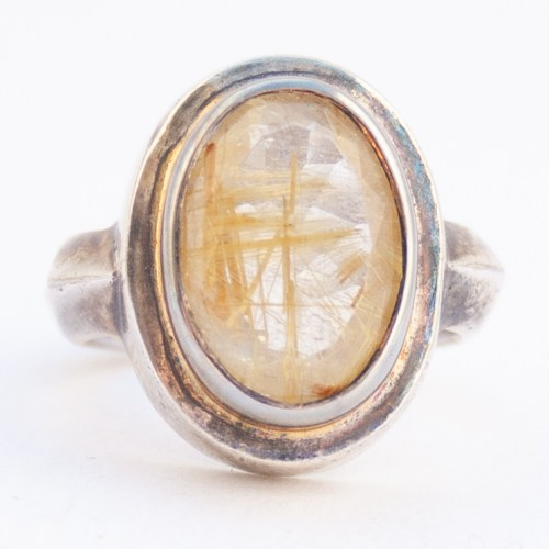Sterling Silver Faceted Rutilated Quartz Ring