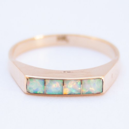 14K Gold Native American Zuni Opal Ring