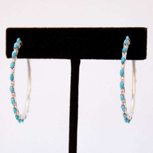 Native American Medium Turquoise Hoop Earrings