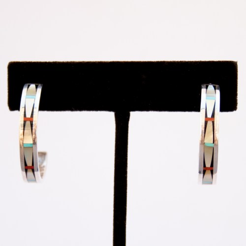 Zuni Golden Pearl Inlay Hoop Earrings