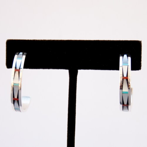 Zuni White Pearl Inlay Hoop Earrings