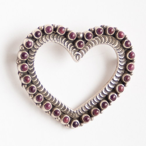 Lee Charley Spondylus Heart Pin Brooch Pendant
