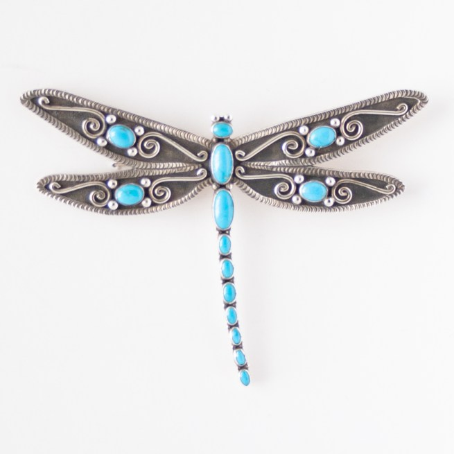 Lee Charley Large Turquoise Dragonfly Pin Brooch Pendant