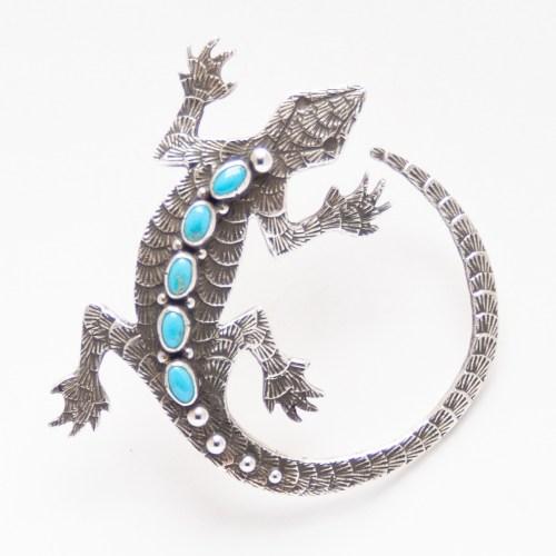 Pendentif Broche Salamandre Turquoise