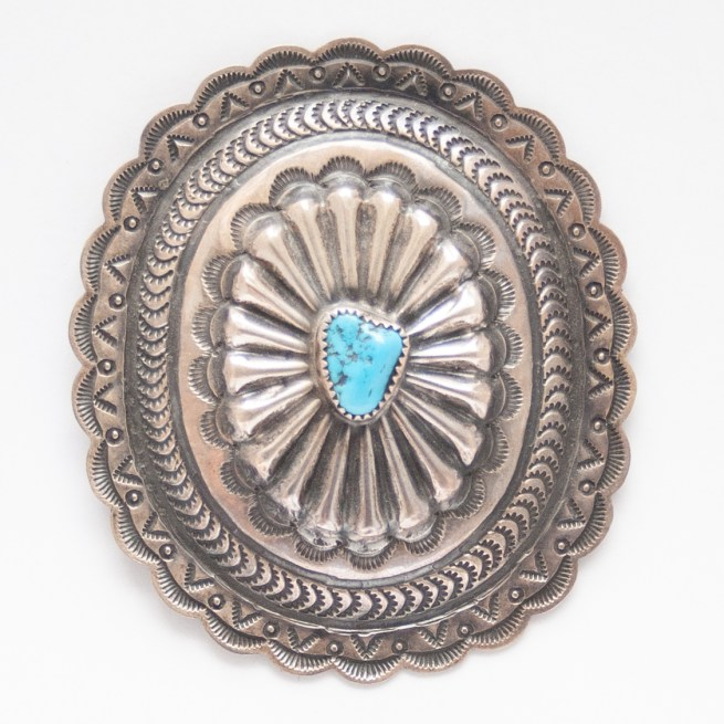 Vintage Navajo Turquoise Silver Pin Brooch