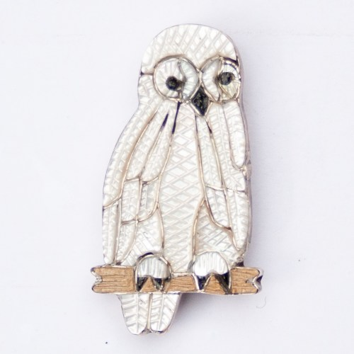 Native American White Pearl Owl Pin Brooch Pendant