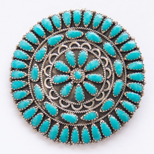 Zeita Begay Medium Turquoise Pin Brooch Pendant