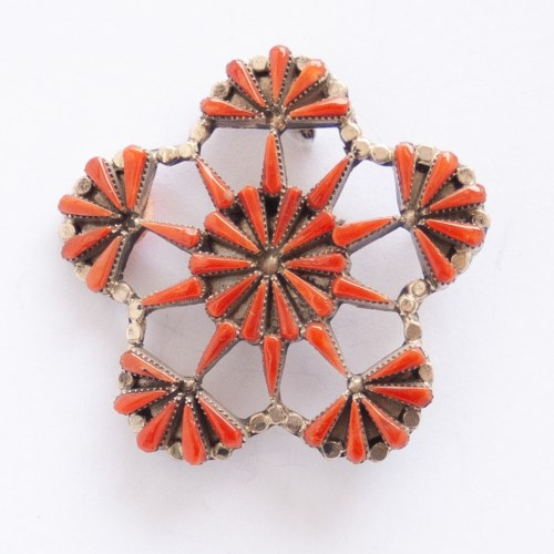 Rebecca Laate Red Coral Snowflake Pin Brooch Pendant