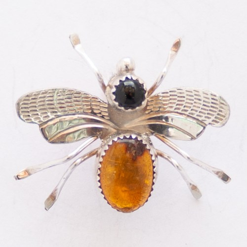 Native American Amber Jet Moth Pin Brooch