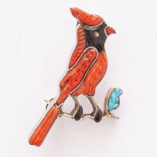Andrea Shirley Lonjose Red Northern Cardinal Pin Brooch Pendant