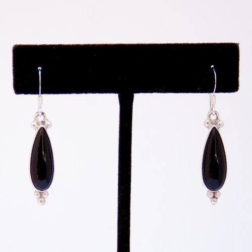 Native American Jet Teardrop Earrings