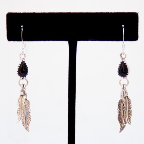 Navajo Black Jet Silver Feather Earrings