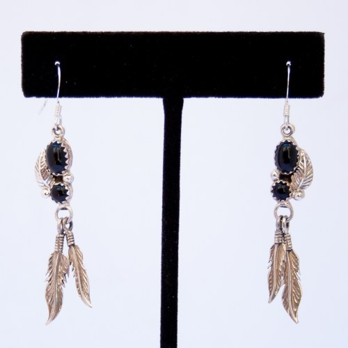 Navajo Black Jet Silver Feather Drop Earrings
