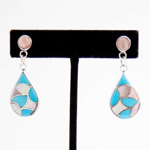 Zuni Pink Pearl Turquoise Inlay Teardrop Earrings