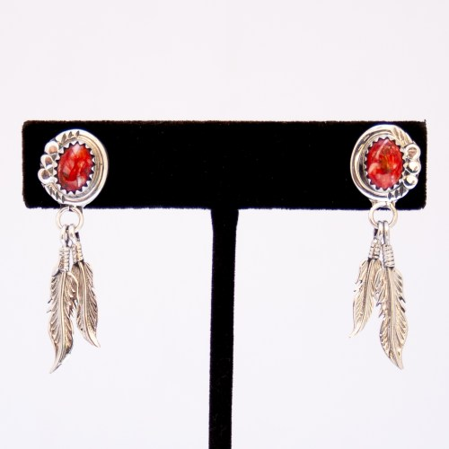 Red Spondylus Silver Feather Drop Earrings