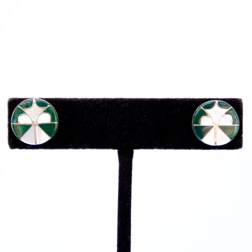 Zuni Malachite Pearl Inlay Stud Earrings