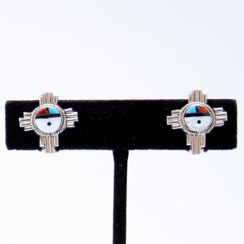 Zuni Kachina Cross Clip On Earrings