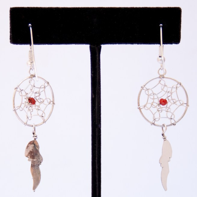 Small Coral Dream Catcher Drop Earrings