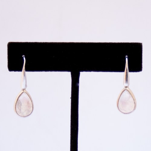 Rainbow Moonstone Silver Drop Earrings