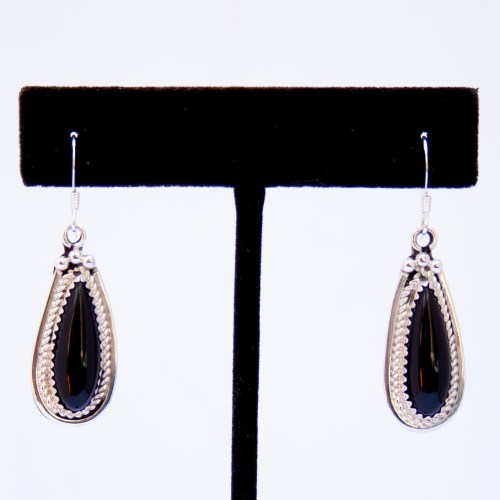 Native American Black Jet Teardrop Earrings
