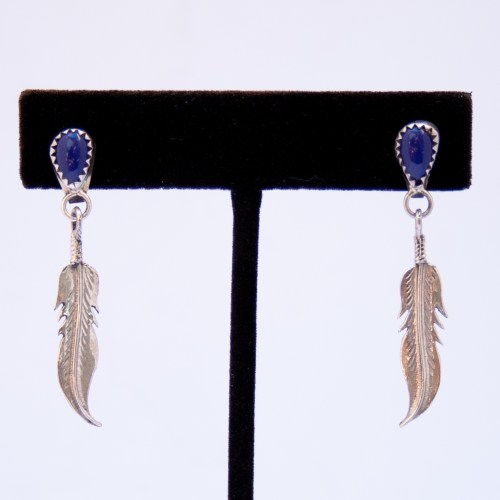 Lapis Lazuli Single Silver Feather Drop Earrings
