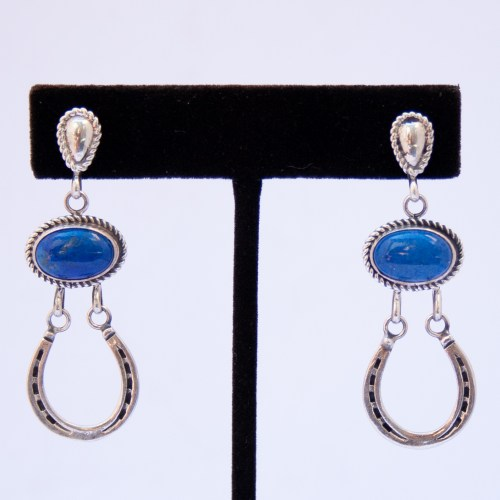 Horseshoe Lapis Lazuli Drop Earrings
