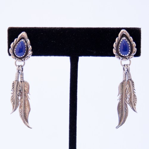Navajo Lapis Silver Feather Drop Earrings