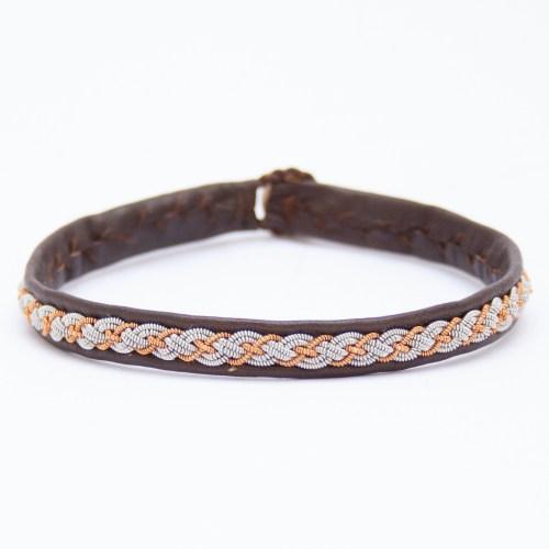 Brown Leather Copper Silver Pewter Sámi Bracelet