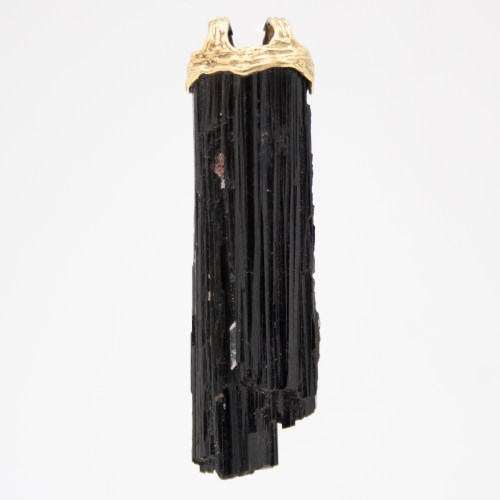 Large 18K Gold Black Tourmaline Pendant