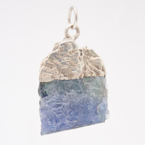 Sterling Silver Unpolished Tanzanite Crystal Pendant
