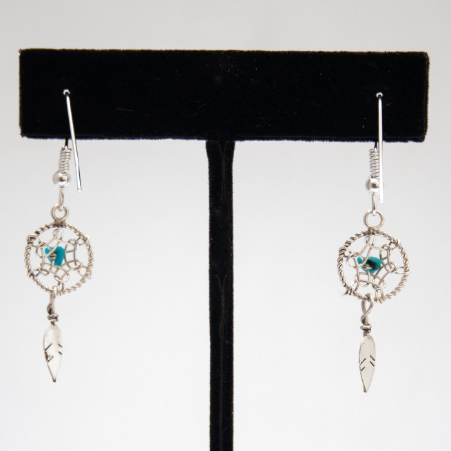 Small Turquoise Dream Catcher Drop Earrings