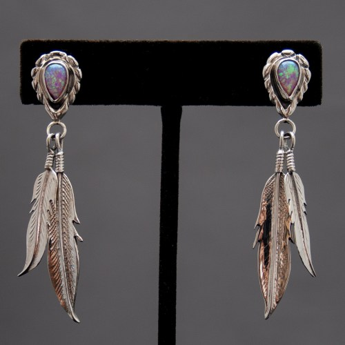 Double Silver Feather Pink Opal Drop Earrings
