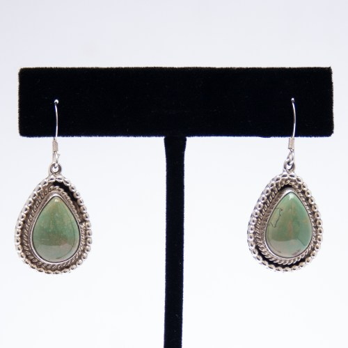 Native American Navajo Green Turquoise Drop Earrings