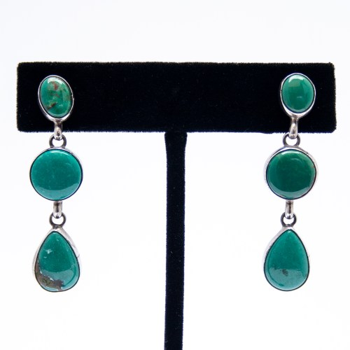 Three Tier Green Turquoise Drop Earrings