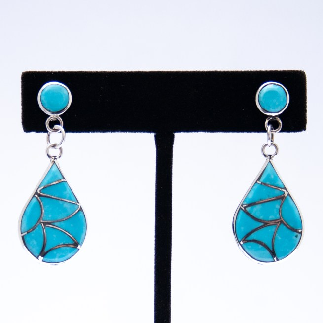 Rodney Laiwakete Turquoise Inlay Drop Earrings