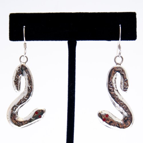 Effie Calavaza Silver Snake Drop Earrings