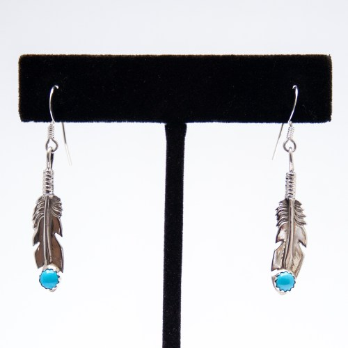 Native American Small Feather Turquoise Drop Earrings