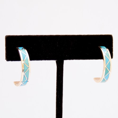 14K Gold Turquoise Zigzag Hoop Earrings