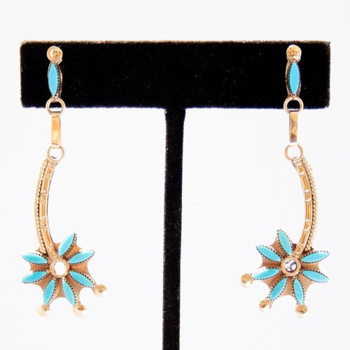 Gold Turquoise Earrings