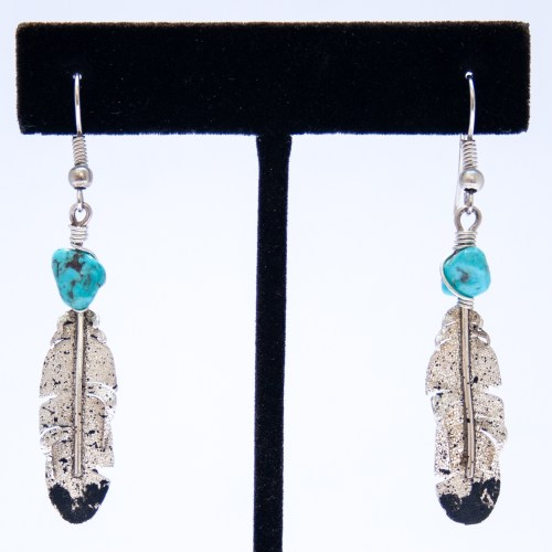Ernest Rangel Silver Feather Turquoise Drop Earrings